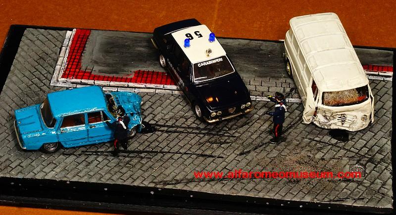 [ Scene ] Alfa Romeo Car Accident crash diorama ( 1/43 ) | Alfa Romeo Model Car Museum
